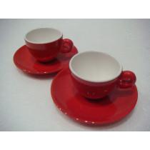 Set tazas café rojo